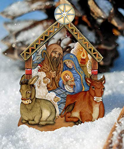Outdoor Nativity Scene, Nativity Wooden Decorative Hanging/Freestanding Figurine – Large Nativity Ornament – Holy Family Yard Decor #8114030M