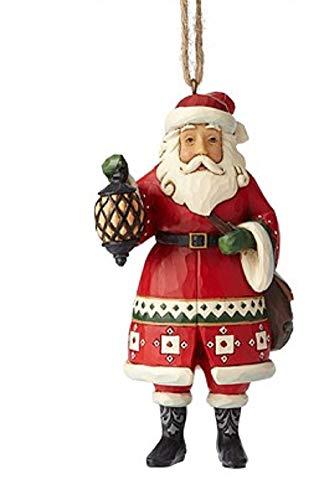 Enesco Jim Shore Heartwood Santa Holding Lanter