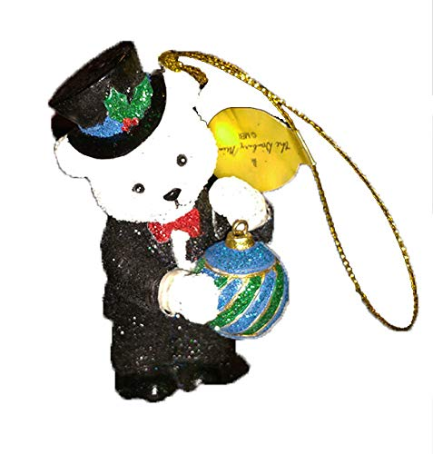 Danbury Mint Teddy Bear Glitter Ornament, Bear's Night Out, 3 inches high