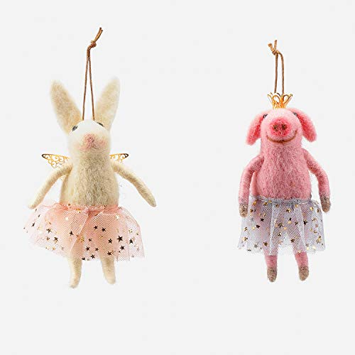 One Hundred 80 Degrees Pig and Bunny Ballerina Ornaments – Set of 2