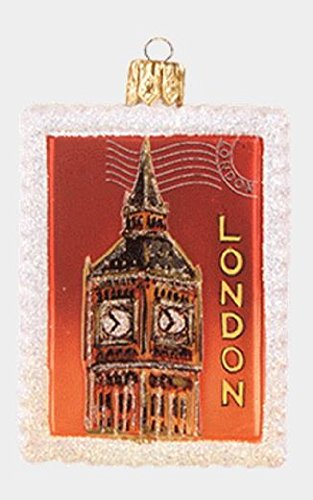 Pinnacle Peak Trading Company London England Big Ben Postage Stamp Polish Glass Christmas Ornament Decoration