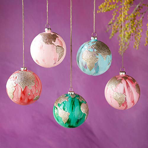 One Hundred 80 Degrees Marble Glass Earth Ornaments – Set of 5