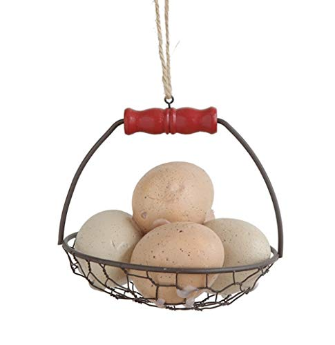 Creative Co-op Farmhouse Eggs Basket Hanging Ornament