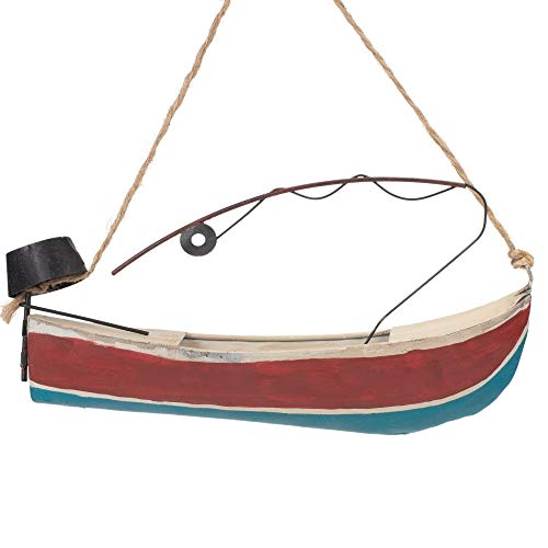 Midwest-CBK Fishing Boat Nautical Stripe 7 x 2 Metal Christmas Decorative Hanging Ornament