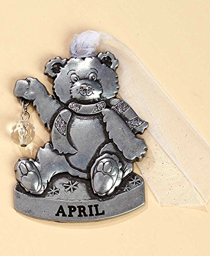 Gloria Duchin Birthstone Bear – April Christmas Ornament, Silver and Red