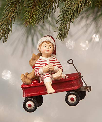Bethany Lowe Wally in Wagon Kids Themed Christmas Tree Ornament