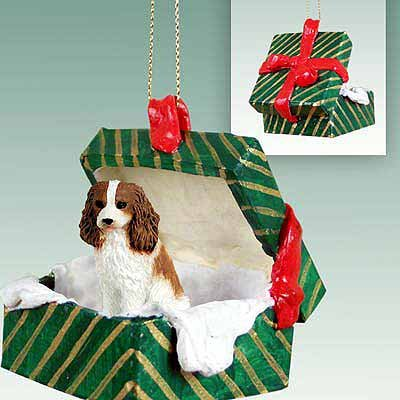 Cavalier King Charles Spaniel Green Gift Box Dog Ornament – Brow by Conversation Concepts