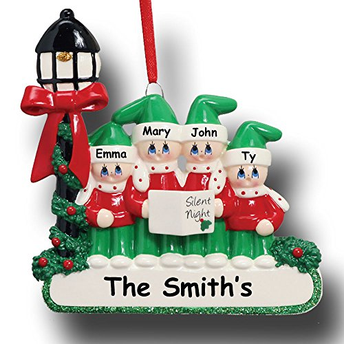 Rudolph and Me Personalized Family of 4 Christmas Ornament – Christmas Carolers Singing Silent Night – Free Custom Names
