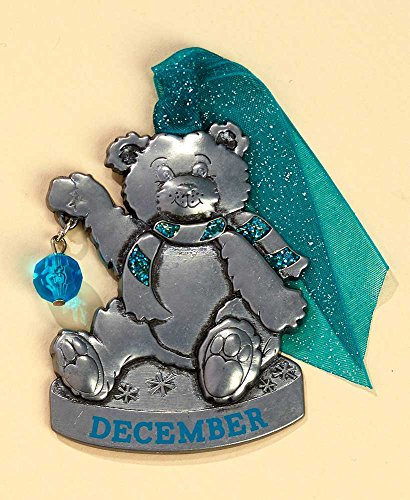 Gloria Duchin Birthstone Bear – December Christmas Ornament, Silver and Red