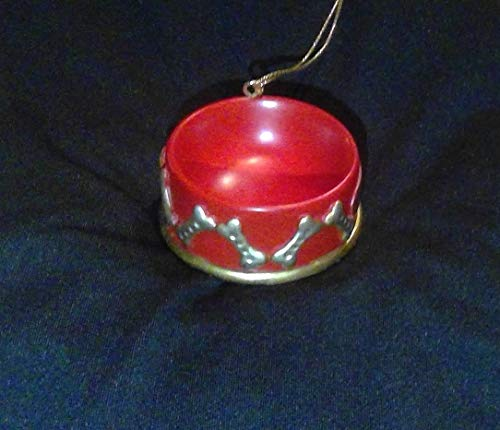 JWM Dog Bowl Resin Christmas Ornament
