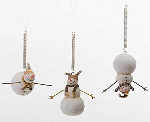 180 Degrees Set of 3 Black & Gold Bungee Jumping Snowmen