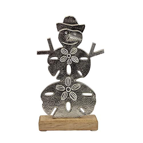 Beachcombers Aluminum Snowman on Wood Base, 10.6″