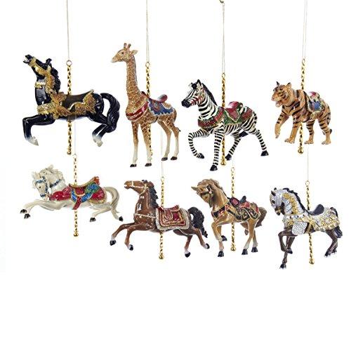 Kurt Adler 5″ Resin Carousel Assortment Ornament 8/asstd: 5ea Horse & 1ea Giraffe, Tiger & Zebra.