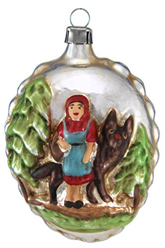 Marolin Little Red Riding Hood, Wolf and Forest House MA2011028 German Glass Ornament w/Gift Box