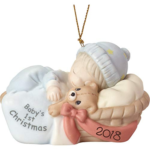 """Precious Moments"""" First Christmas 2018″ Baby Boy Ornament, Multicolor (Renewed)"""