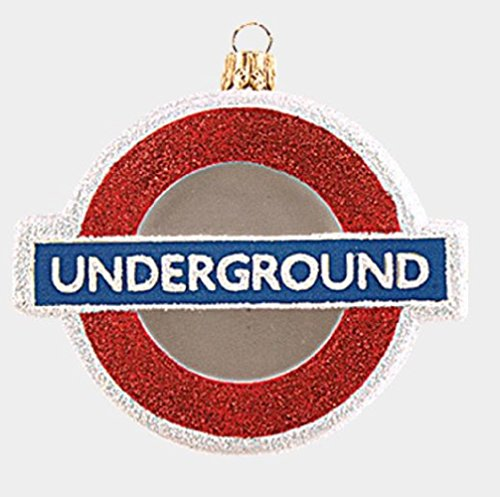 Pinnacle Peak Trading Company London England Underground Sign Polish Glass Christmas Tree Ornament Decoration