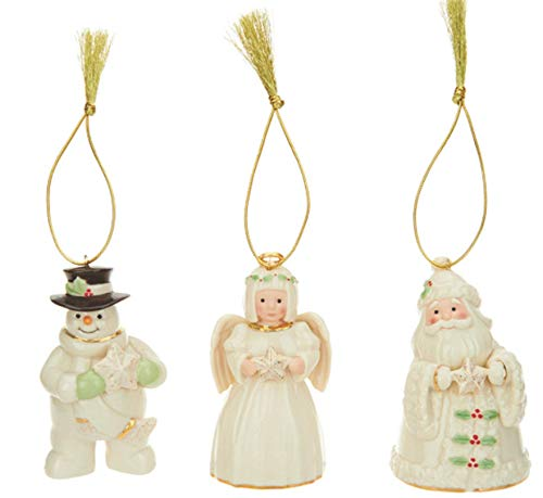 Set of 3 Porcelain Ornaments with 24K Gold Accents with Individual Gift Boxes (Angel, Santa, Snowman)
