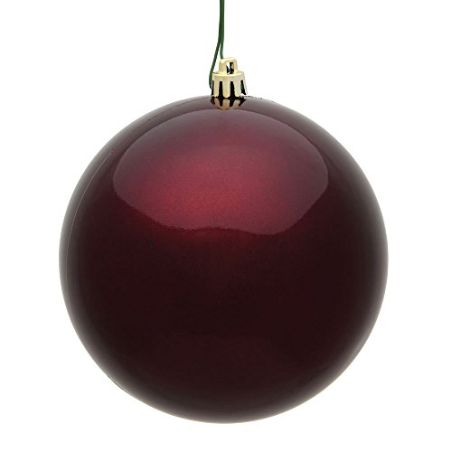 Vickerman 6″ Burgundy Candy UV Treated Ball Christmas Ornament with Drilled and Wired Cap, 4 per Bag