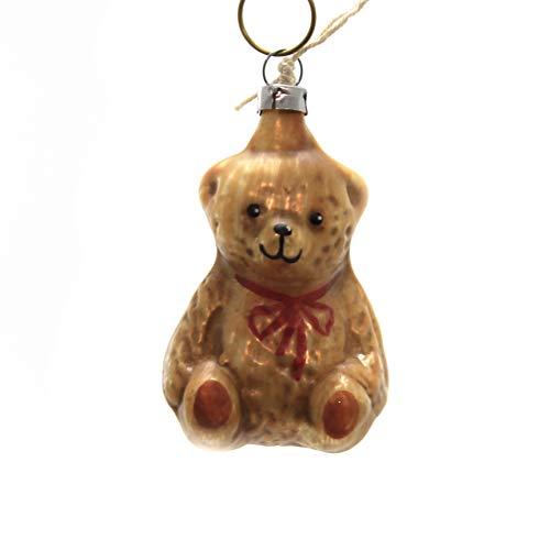 Marolin Sitting Teddy Bear Glass Ornament Feather Tree 2011120