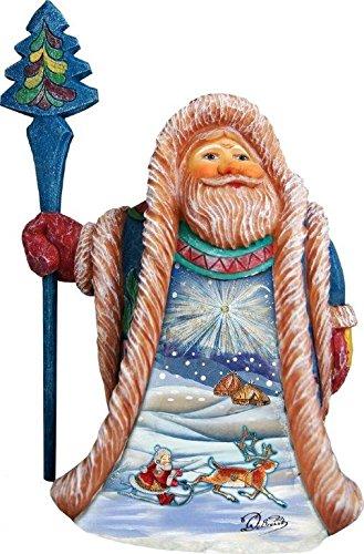 G. Debrekht Blue Illustrated Santa in Alaska