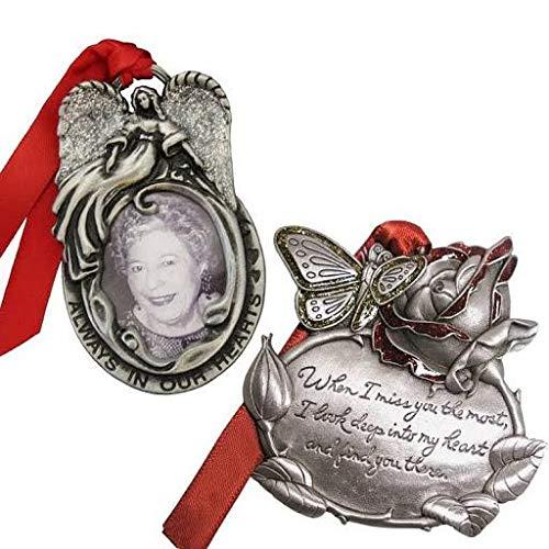 Gloria Duchin Angel Frame and Rose Memorial Ornament Set, Silver