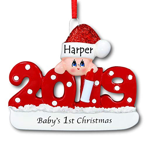 Rudolph and Me 2019 Baby's First Christmas Ornament – Red 1st Christmas Tree Ornament in Glittered Santa Claus Stocking Hat for Baby Boy or Baby Girl – Free Custom Name