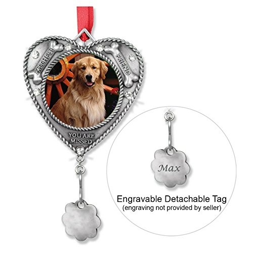 BANBERRY DESIGNS Dog Ornament – Pet Memorial Picture Christmas Ornament – Engravable Charm Included to Personalize – Loss of a Dog Keepsake