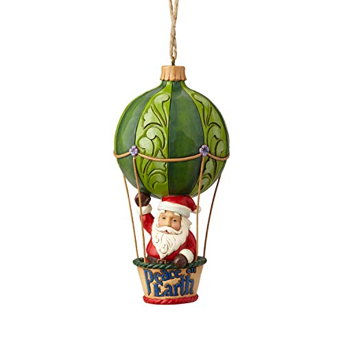 Enesco Jim Shore Heartwood Creek Santa in a Hot Air Balloon Hanging Ornament 5″ Multicolor