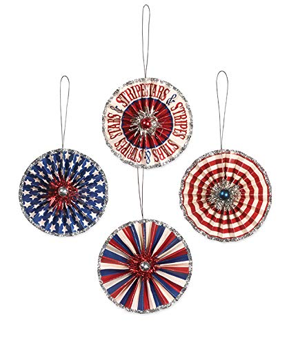 Bethany Lowe Americana Patriotic Stars and Stripes Paper Rosette Ornament Set of 4