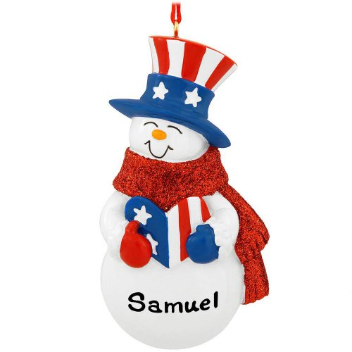 Rudolph and Me Patriotic Snowman Christmas Ornaments
