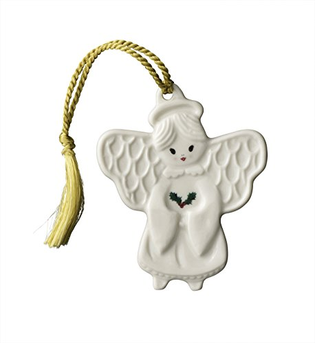Belleek Angel With Holly Ornament