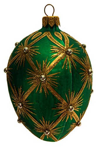 Pinnacle Peak Trading Company Green with Gold Sunbursts Faberge Inspired Egg Polish Glass Christmas Ornament