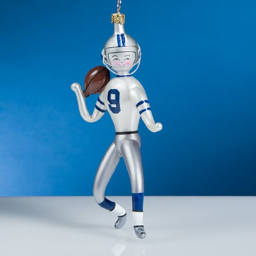 De Carlini Football Player Italian Mouthblown Glass Christmas Ornament