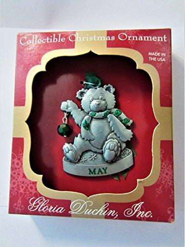 Gloria Duchin Jewelry for Your Tree Christmas May Birthstone Bear Ornament