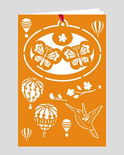 Crystal Delight by Mascot (Set of 3) Greeting Card with Ornament – Twin Butterflies Hot Air Balloon