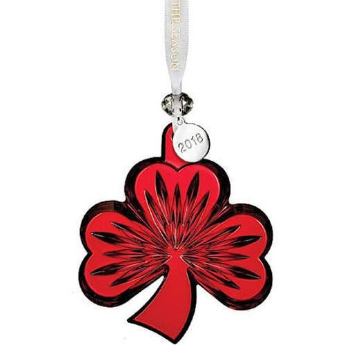 Waterford 2018 Shamrock Ornament, Red 3.8″