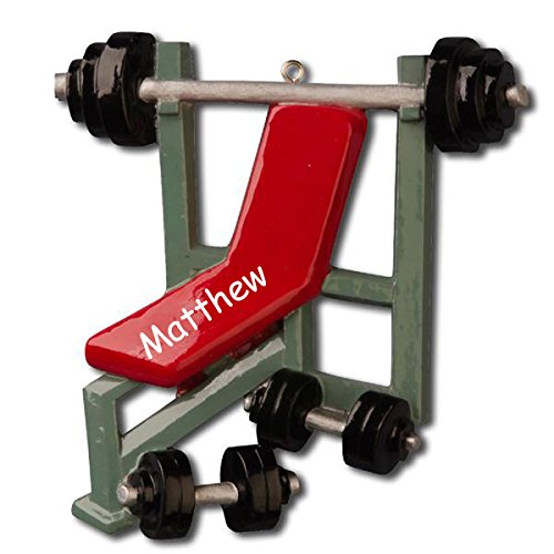 Personalized Weight Lifting and Exercise Bench with Free Weights Gym Equipment Hanging Christmas Tree Ornament with Custom Name