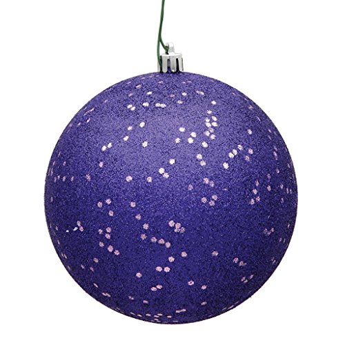 Vickerman 8″ Purple Glitter Sequin Ball Christmas Ornament with Drilled and Wired Cap