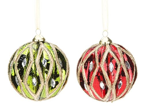 Mark Roberts Pair! Jeweled and Glittered Coordinating Red and Green Christmas Ornaments Gift Boxed