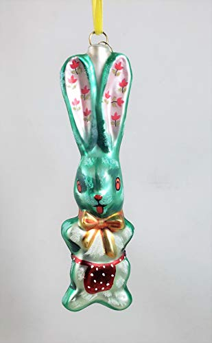 Glitterville Bunny Rabbit Flowered Ears Glass Ornament by Nathalie LÉTÉ Easter