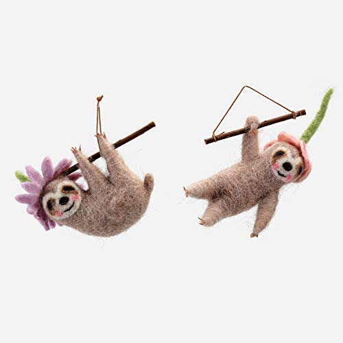 One Hundred 80 Degrees Felted Wool Sloth Ornaments – Set of 2