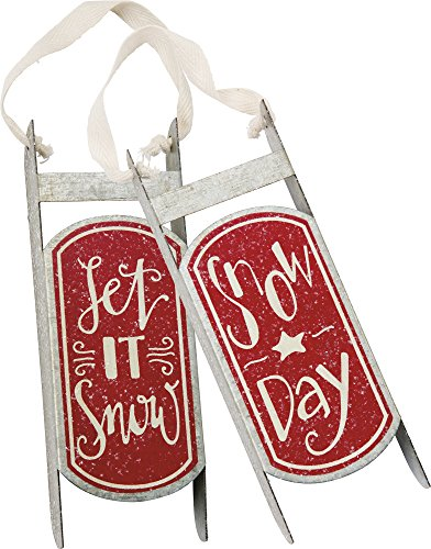 Primitives by Kathy Tin Sled Christmas Ornaments, Set of 2, Snow Day, 2 Piece