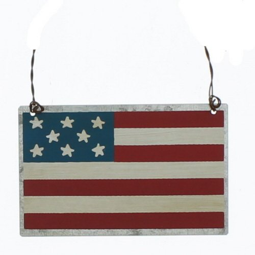 PBK Patriotic Decor – American Flag Small Tin Sign Ornament