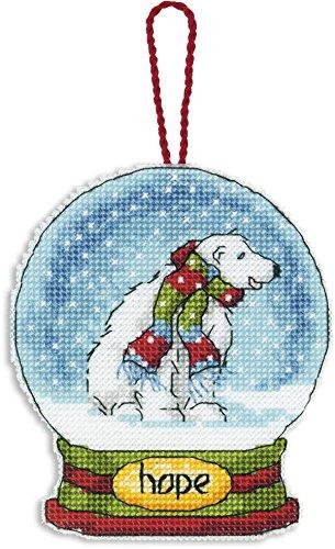 "Dimensions Counted Cross Stitch Hope Polar Bear Snow Globe Christmas Ornament Kit, 3.75"" W x 4.5"" H"