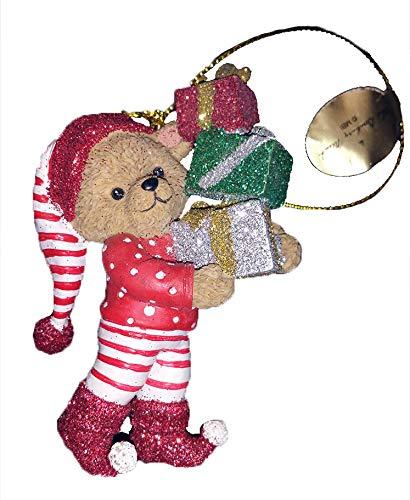 Danbury Mint Teddy Bear Glitter Ornament, Bearing Gifts Bear, 3 inches high