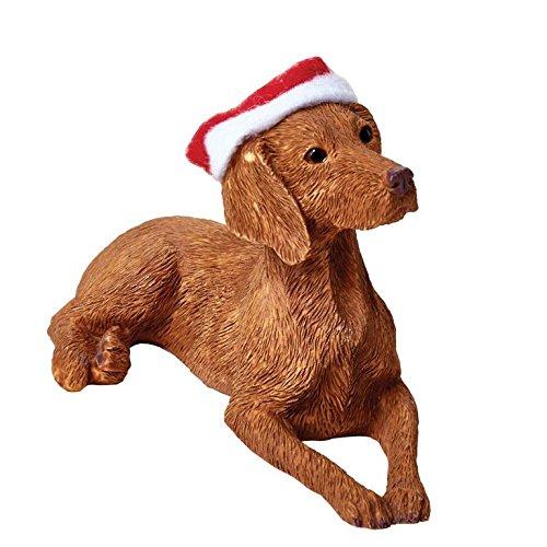 Sandicast Vizsla with Santa Hat Christmas Ornament