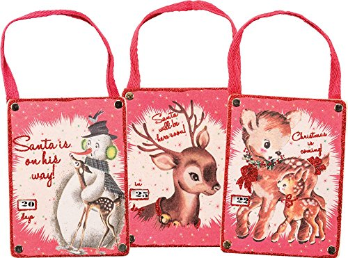 Primitives By Kathy Annie Schickel 3.75 inches x 4.50 inches Countdown Ornaments – Deer