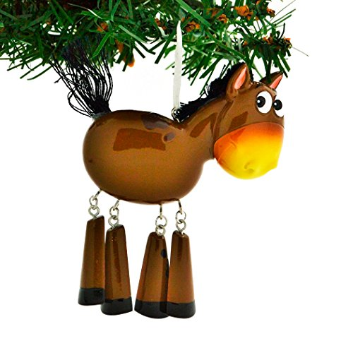 Personalized Farm Animals Christmas Tree Ornament 2019 – Brown Horse Dangling Legs Farmer Collection Industry Barnyard Ride Barrel Ridding Toy Gift Year – Free Customization
