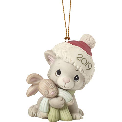 Precious Moments Kitty Cuddles 2019 Dated Bisque Porcelain Cat Christmas 191007 Ornament, One Size, Multi