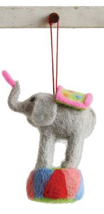 Creative Co-op Animal Wool Circus Ornament – Elephant